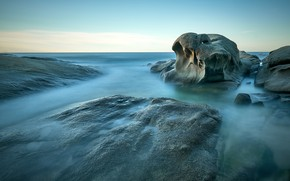 Картинка море, небо, камни, горизонт