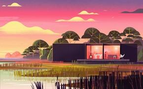 Картинка берег, камыш, строение, водоём, Nomadic Homes Illustrations