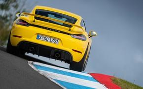 Картинка Porsche, Скорость, Cayman, Трасса, Номер, GT4, 2019, Porsche 718 (982) Cayman GT4