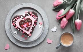 Картинка кофе, букет, сердечки, тортик, Anya Ivanova