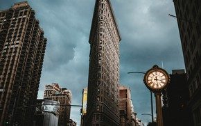 Картинка часы, дома, США, УТЮГ, Нью- Йорк