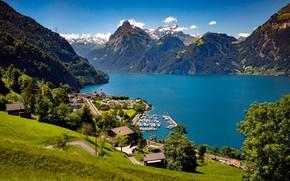 Картинка горы, озеро, Швейцария, деревня, Альпы, панорама, Switzerland, Alps, Люцернское озеро, Фирвальдштетское озеро, Lucerne Lake, Sisikon …