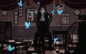 Картинка бабочки, комната, стулья, парень, Bungou Stray Dogs, Бродячие Псы: Литературные Гении, Акутагава Рюноске, Akutagawa Ryuunosuke