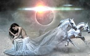Картинка девушка, лошади, затмение, фотоарт
