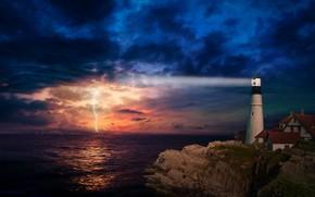 Картинка море, гроза, ночь, скала, молния, маяк, дома