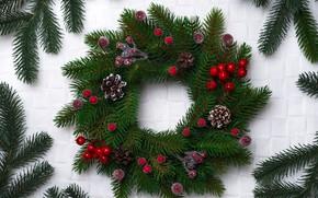 Картинка украшения, Новый Год, Рождество, Christmas, венок, wood, New Year, decoration, wreath, Merry, fir tree, ветки …