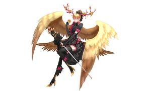 Картинка крылья, ангел, сапоги, фэнтези, арт, каблуки, парень, блондин, by hangahan23