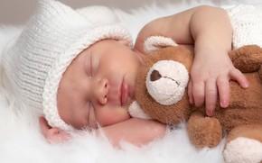 Картинка игрушка, сон, мишка, спит, мех, шапочка, младенец