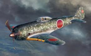 Картинка art, airplane, aviation, Nakajima, ww2, ki-44