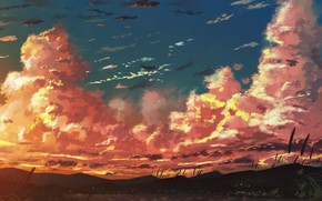 Картинка небо, закат, горы, озеро