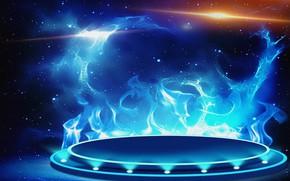 Картинка абстракция, фон, фантастика, огонь, обои, рисунок, холст, широкоформатные, вспышки, синее пламя, акриловые краски, газовая горелка