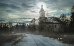 Картинка дорога, туман, храм