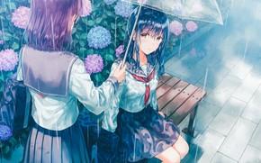 Картинка зонт, сумка, школьницы, две девушки, синие волосы, гортензия, матроска, на скамейке, дождливая погода