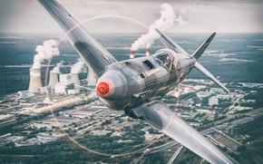 Картинка Як-3, Вторая Мировая Война, Як-3М, ВВС РККА, HESJA Air-Art Photography, Винт, Реплика, Градирня