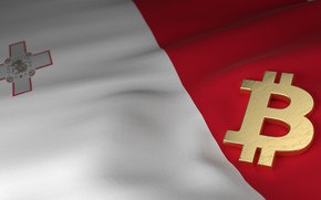 Обои размытие, флаг, мальта, bitcoin, malta, биткоин