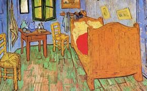 Обои кровать, стулья, окно, картины, Винсент ван Гог, The Bedroom, команта