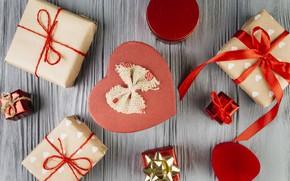 Картинка праздник, Love, подарки, Valentine's day, Heart, Ribbon