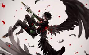 Картинка крылья, ангел, меч, аниме, арт, Owari no Seraph, последний серафим, Юичиро