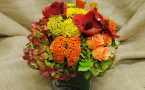Картинка цветы, букет, мешковина