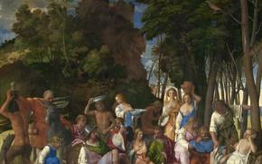 Картинка аллегория, 1514-1529, ТИЦИАН, Пир богов, мифологический сюжет, совместно с Джованни Беллини
