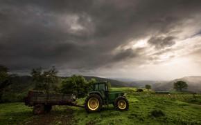 Картинка гроза, зелень, поле, небо, трава, облака, деревья, горы, тучи, зеленый, туман, холмы, склоны, даль, техника, …