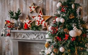 Картинка украшения, шары, елка, Новый Год, Рождество, подарки, камин, Christmas, balls, design, New Year, gift, room, …
