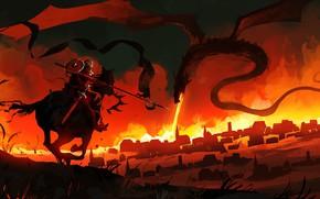 Картинка Город, Дракон, Воин, Fantasy, Арт, Рыцарь, Фантастика, Concept Art, Атака, Creatures, Courage, Dominik Mayer, by …
