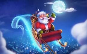 Картинка Зима, Ночь, Рисунок, Луна, Рождество, Праздник, Санта Клаус, Арт, Christmas, Santa Claus, Illustration, Сани, by …