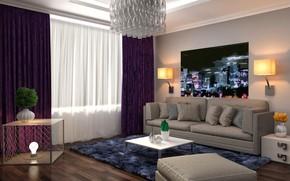 Картинка дизайн, стиль, диван, интерьер, картина, люстра, гостиная, модерн