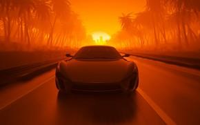 Картинка Закат, Солнце, Авто, Дорога, Машина, Пальмы, Графика, Рендеринг, Sport Car, By mentat3d, mentat3d, Sport Car …