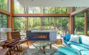 Картинка стекло, дизайн, интерьер, камин, гостиная