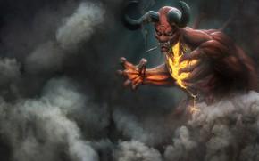 Картинка Дым, Демон, Fantasy, Рога, Art, Devil, Фантастика, Персонаж, Дьявол, Demon, Сигарета, Ад, by Vinz El …