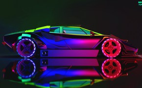 Картинка Авто, Lamborghini, Неон, Машина, Car, Art, Neon, Countach, Рендеринг, Concept Art, Lamborghini Countach, Вид сбоку, ...