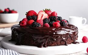 Картинка малина, шоколад, клубника, торт, ежевика