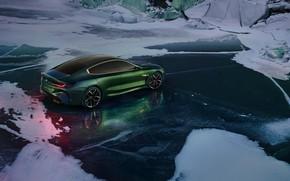 Картинка снег, купе, лёд, BMW, мороз, 2018, M8 Gran Coupe Concept