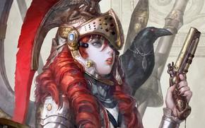 Картинка девушка, пистолет, арт, ворона