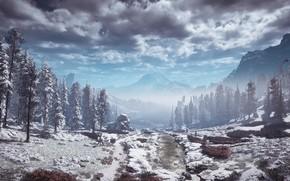 Картинка пейзаж, горы, постапокалипсис, эксклюзив, Playstation 4, Guerrilla Games, Horizon Zero Dawn