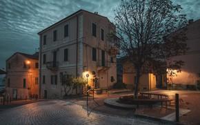 Картинка небо, облака, огни, дерево, улица, дома, вечер, фонари, Италия, тротуар, Ospedaletti