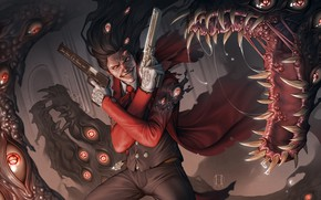 Картинка глаза, волосы, пистолеты, аниме, вампир, пушка, плащ, Hellsing, art, alucard, dracula