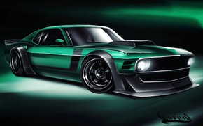 Картинка Авто, Рисунок, Машина, Ford Mustang, Арт, 1970, Boss, Vehicles, 1970 Ford Mustang, Transport, Transport & …