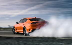 Картинка оранжевый, дым, Kia, GTS, пятидверный, Stinger, 2020, фастбэк