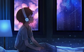 Картинка Music, Night, Headphones, Kid