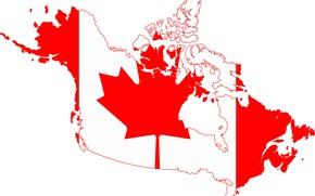Картинка белый, красный, флаг, red, white, канада, custom, canada, fon, flag, границы