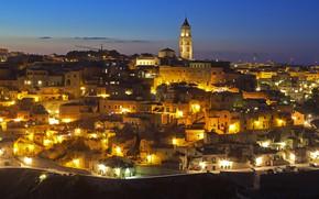 Картинка огни, Италия, панорама, Матера