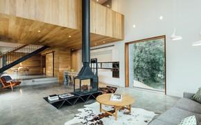 Картинка интерьер, кухня, камин, гостиная, столовая, by Moloney Architects, Dawes Road House