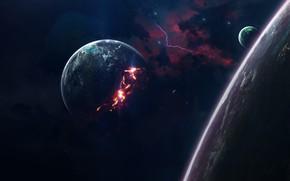 Картинка Звезды, Огонь, Планета, Космос, Туманность, Звезда, Планеты, Planets, Fire, Star, Арт, Stars, Space, Art, Спутник, …