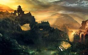 Картинка небо, горы, храм, водопал, Fantasy myth