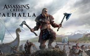 Картинка игры, замок, axe, топор, воины, games, викинг, viking, драккары, eivor, valhalla, assassin's creed valhalla, эйвор