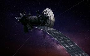 Картинка космос, звёзды, станция, полёт