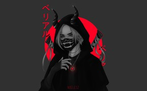 Картинка Девушка, Япония, Стиль, Japan, Мечи, Арт, Samurai, Illustration, Katana, Demon, Characters, Noel Sundström, by Noel …